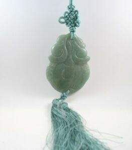 Jade pendant necklace on green cord with tassels carved fruit asian image is loading jade pendant necklace on green cord with tassels aloadofball Images