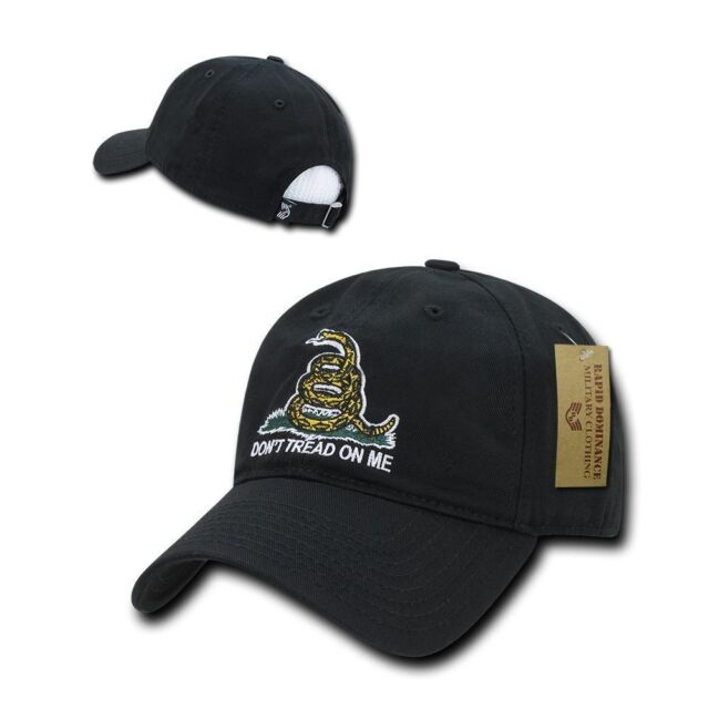 2dd349399 Rapdom Don't Tread on Me Gadsden Flag Relaxed Graphic Mens Cap Black