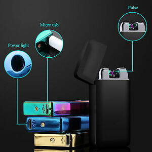 USB-Dual-Arc-Plasma-Lighter-Aufladbar-Feuerzeug-Flammenlos-Elektro-Lichtbogen-DE