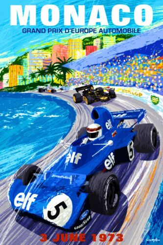 1973 Monaco French Grand Prix Art Automobile Race Advertisement Vintage Poster