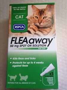 rspca flea away spot on treatment for cats x3 treatments. Black Bedroom Furniture Sets. Home Design Ideas