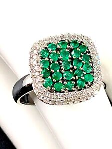 57a3d39dd0988 Details about EFFY BRASILICA 14K SOLID WHITE GOLD .69 CTW EMERALD DOUBLE  DIAMOND RING SIZE 7
