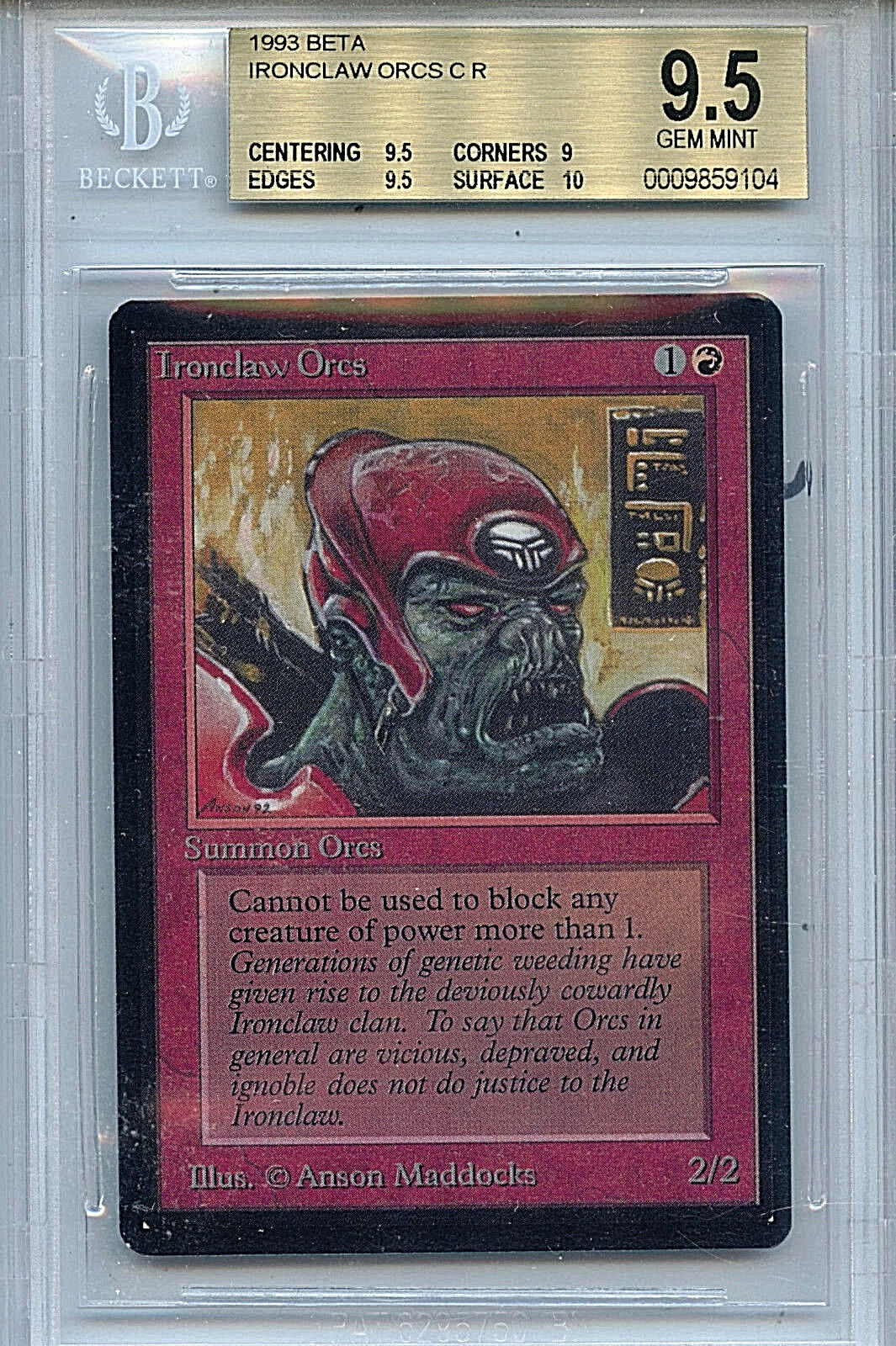 MTG Beta Ironclaps Orcs BGS 9.5 Gem Mint kort magi the Alling WOTC 9104