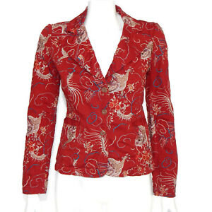 JOHNNY WAS Red Embroidered Dragon Jacket Blazer size XS