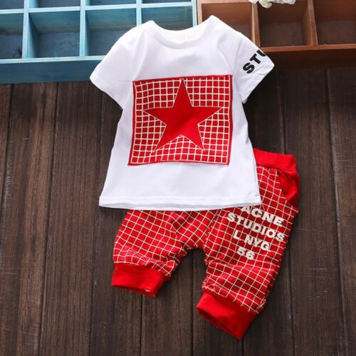 Hot Suit Kid Boys Girl Star Print Plaid Tee Tops+Pants Outfits Clothes Set CC