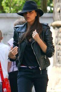 Motorcycle bnwt Leather Black Biker Womens Slimfit Beckham Victoria Jacket qwTIFAI
