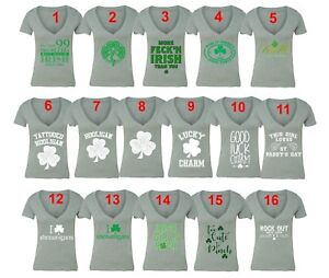 02069cf4 St Patricks Day shirt Shamrock Clover Paddy's Irish Women Vneck T ...
