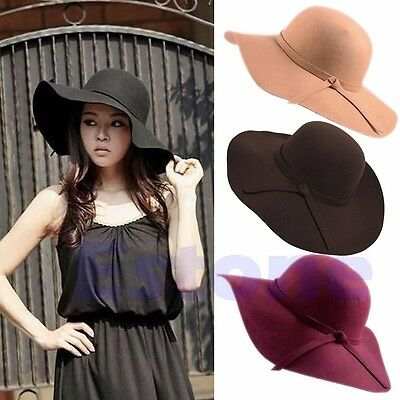 New Vintage Women Wide Brim Felt Bowler Fedora Hat Lady Floppy Cloche