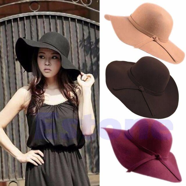 Women Vintage Wide Brim Felt Bowler Fedora Hat Girl Floppy Cloche Cap