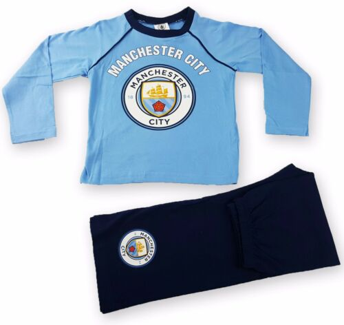 Boys Manchester City Football Club Long Length Pyjama Set 4 to 12 Years