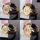 WOMEN Mens Roman Dial Skeleton Steampunk Mechanical Leather Sport Wrist Watch