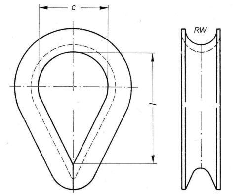 10 Stück Kauschen DIN 6899 BF für Seil 9,0  mm 10  mm Rillenweite verzinkt