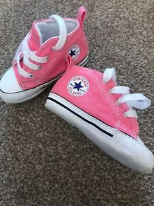 7458d763542d77 Image is loading Pink-Baby-Converse-High-Tops-UK-3-EU-