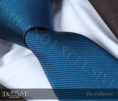 100% Vero Verde Acqua A Costine Cravatta Di Seta-italian Designer Milano Esclusivo-mostra Il Titolo Originale Perfetto Nella Lavorazione