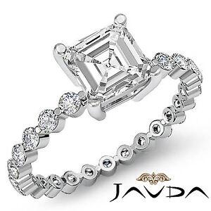 Asscher-Talla-Diamante-Vintage-Pave-Anillo-de-Compromiso-GIA-H-VS2-14k-Oro