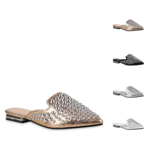 Damen Sandalen Pantoletten Leder-Optik Slippers Metallic Schuhe 820645 New Look