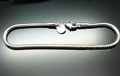 1PC 925 sterling silver lobster clasps European 3mm Snake Bracelets 8 inch 20cm