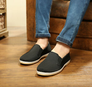 Mens-Cotton-Cloth-Slip-On-Kung-Fu-Tai-Chi-Shoes-Rubber-Sole-Black-Mult-Sizes