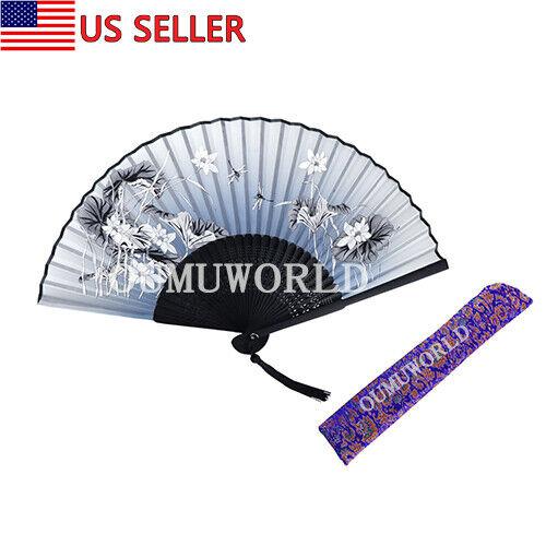 New Hand Fan Chinese Japanese Silk Elegant Modern Folding Fan Flower Dragonfly