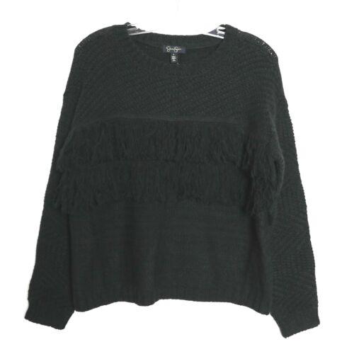 Nwt Fringe S Simpson Jessica Piccolo 89 Maglione Knit oversize nero pullover TxqAOIS