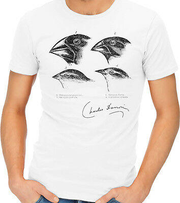 Darwin's Finches Evolution Charles Science Vintage Drawing T-Shirt Tshirt Tee