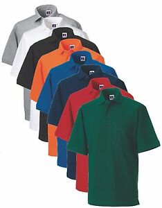 Russell-011M-Mens-Mans-Plain-Workwear-Cotton-POCKET-Polo-Golf-Sports-Shirt-S-4XL