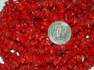 54-Inch-Strand-of-Deep-Rich-Red-Coral-Chip-Beads-Extra-Long-strand