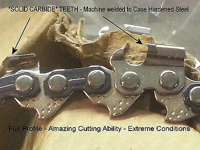 """NO Coated Junk VIDEO ANY LENGTH SOLID CARBIDE Chainsaw 3//8/"""" 050/"""" Type 72"""
