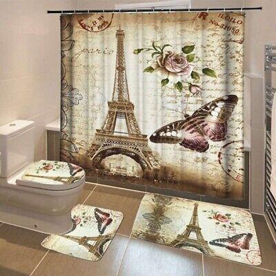 Paris Eiffel Tower Door Bath Mat Toilet Cover Rugs Shower Curtain Bathroom Decor