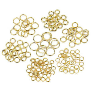Stainless-Steel-Gold-Tone-Open-Jump-Rings-Jewelry-Findings-Split-Rings-Accessory
