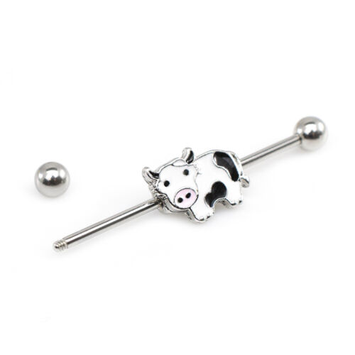 Industrial Barbell with Cute Cow Design 14g or 16ga