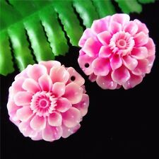 2Pcs Delicate Nice Pink Tridacna Flower Carved Pendant Bead 33*16mm AE1220