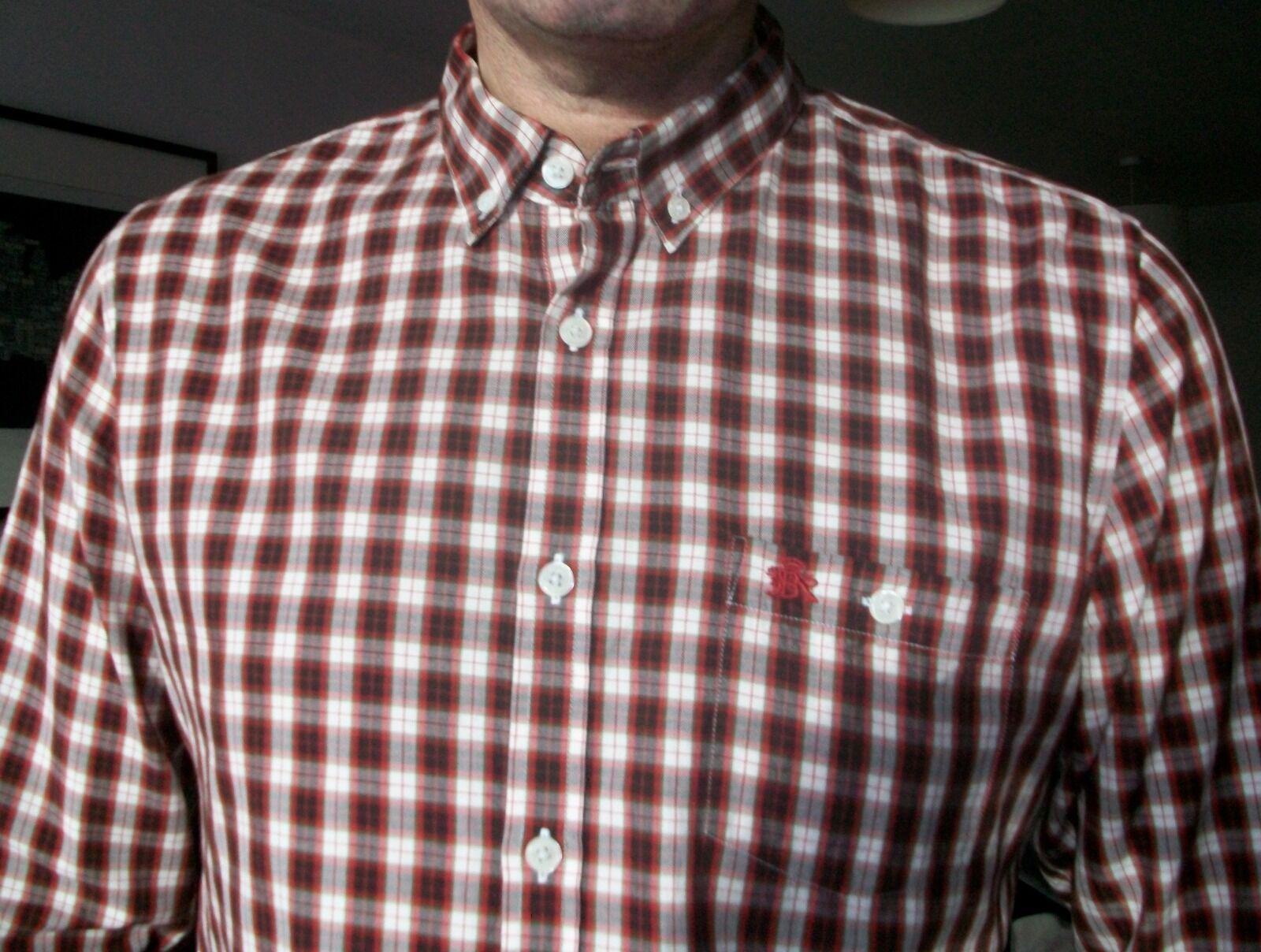 Uomo BARACUTA mod style Check rosso cotone spazzolato L S Camicia BUTTON DOWN. Taglia L