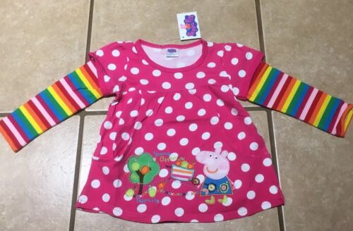 NWT Girls Cartoon Pig Pink White Dot Apple Orchard Tunic Top Size 5//6 5T School