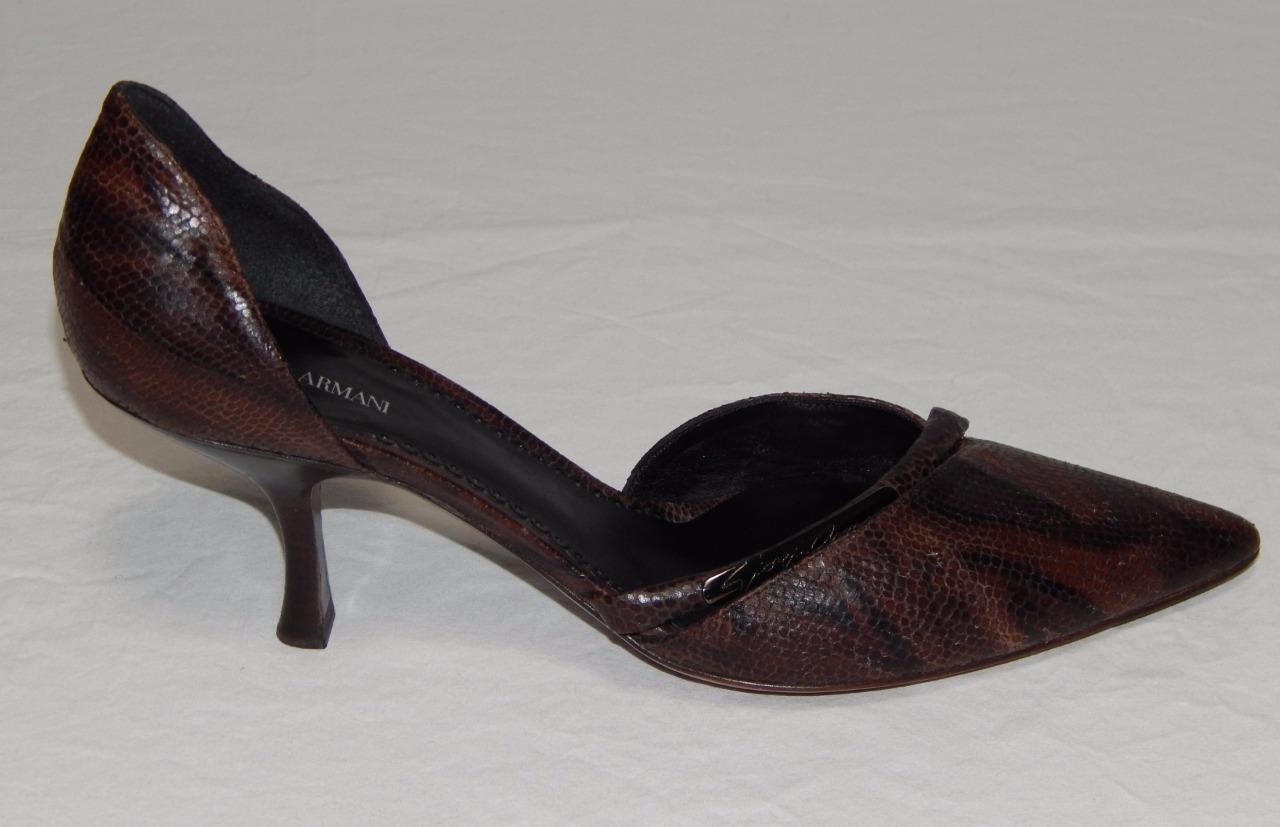 GIORGIO ARMANI Women's Brown Animal Print Leather Point Toe Pumps Size 8.5 M