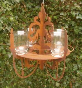 Détails sur Chandelier Décoration de Jardin Lustre pour Lanternes Pots  Plantes Métal Inox