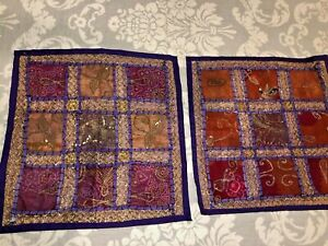 India-Patchwork-Throw-Pillow-Covers-Set-of-2-17-034-Square-Purple-Embroidered-Sari