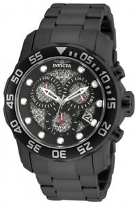 Invicta-Men-039-s-Pro-Diver-Chronograph-300m-Black-Stainless-Steel-Watch-19838