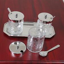 Edel Marmeladen Menage Set Konfitüre 3 Glasdosen mit Tablett und Löffel
