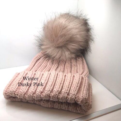 Kids Baby Winter Warm Knit Beanie  Hat Girls Faux Fur Pom Bobble New Cap Ribbed