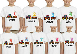 Personalized-Kids-Childrens-T-Shirt-Birthday-Boys-Girls-Age-Tee