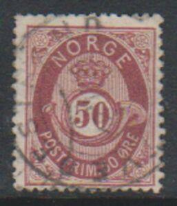 Norway-1877-9-50-ore-Maroon-stamp-G-U-SG-62
