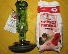 Perky-Pet Green Bottle 10oz Hummingbird Feeder +Homestead 2.5lb Red Nectar Powdr