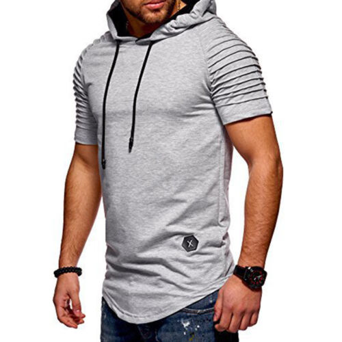 Mens Blouse Hooded T-shirt Short Sleeve Casual Tops Tees Shirt Basic Slim Fit
