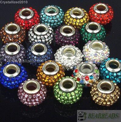 10Pcs Side Ways Crystal Rhinestones Long Skull Bracelet Connector Charm Beads