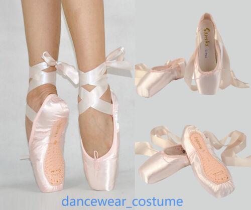 Neu Frauen Mädchen Spitzenschuhe Spitzentanz Ballettschuhe mit Band Schläppchen