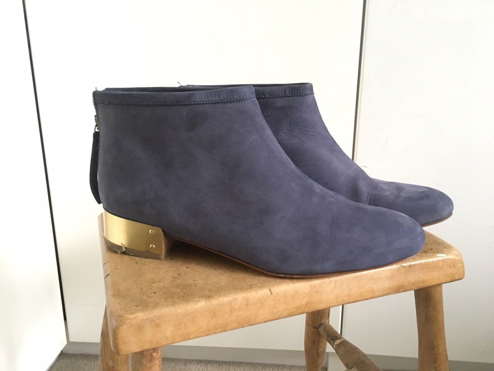 & Other Stories Womens bluee Suede Ankle Boots With gold Heel UK7 EU40