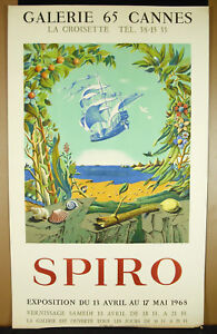 Affiche Originale 1968 Imp Deprest Galerie 65 Cannes La Croisette Georges Spiro