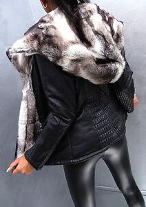 details about neu 2017 damen leder leather look pelz jacke mantel m42. Black Bedroom Furniture Sets. Home Design Ideas