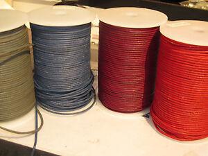 20m 10€ B-Ware Rollen Lederband 2mm matt Lederriemen rosa dunkelrot blau